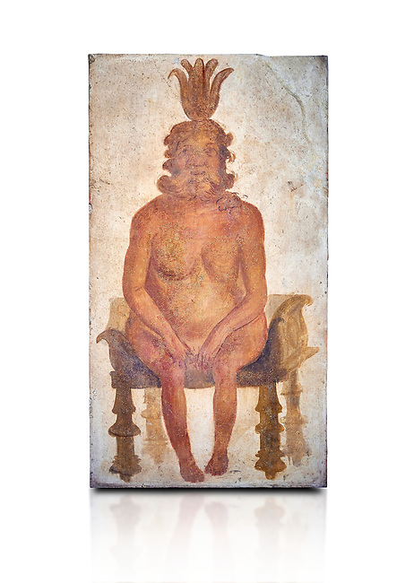Roman fresco wall painting from the Sacrarium of the Temple of Isis in Pompeii depicting the Egyptian god Bes, God of war but also childbirth and the home, and was associated with sexuality, humour, music and dancing, North wall of Sacrarium, Naples National Archaeological Museum , inv 1.72 , Naples National Archaeological Museum , white background