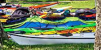 Kayacks preparing to explore the Apostle Islands National Lakeshore near Bayfield Wisconsin.