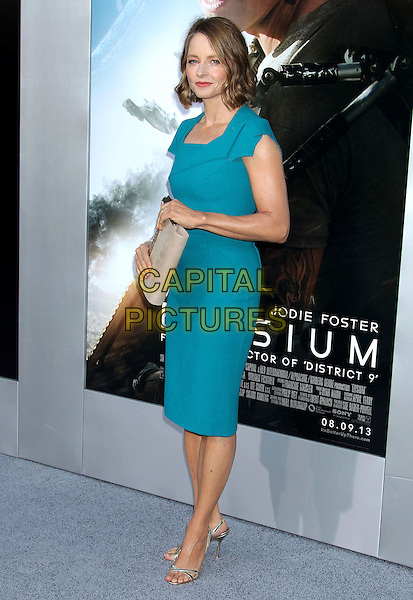 Jodie Foster<br /> &quot;Elysium&quot; Los Angeles Premiere held at the Regency Village Theatre, Westwood, California, UK,<br /> 7th August 2013.<br /> full length blue turquoise dress teal beige nude clutch bag <br /> CAP/ADM/RE<br /> &copy;Russ Elliot/AdMedia/Capital Pictures