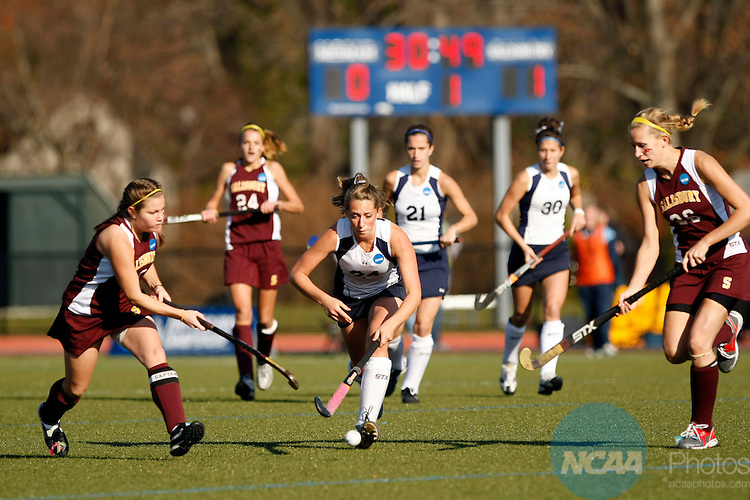 22 NOV 2009:  Jenna Max (24) of Messiah College races Michelle Rowe (13) of Salisbury University to the ball during the Division III Women's Field Hockey Championship held at the Turf and Track Complex on the Mount Holyoke College campus in South Hadley, MA. Salisbury defeated Messiah 1-0 for the national title.  John Risley/NCAA Photos