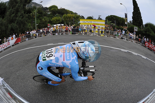 Milram team rider Peter Worlich (AUT) rounds the hairpin during the Prologue Stage 1 of the 2009 Tour de France a 15.5km individual time trial held around Monaco. 4th July 2009 (Photo by Eoin Clarke/NEWSFILE)