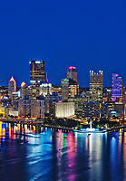 City skyline at night, Pittsburgh, Pennsylvania, USA.