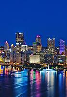 City skyline at night, Pittsburgh, Pennsylvania, USA.
