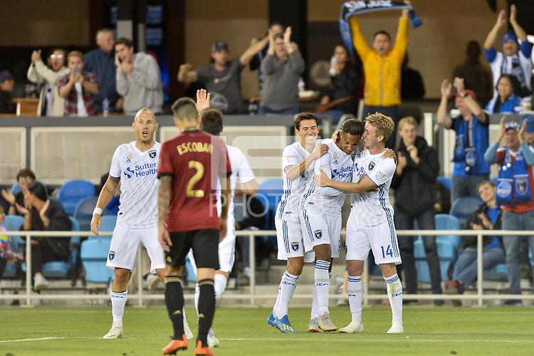 San Jose, CA - Wednesday September 19, 2018: Danny Hoesen during a Major League Soccer (MLS) match between the San Jose Earthquakes and Atlanta United FC at Avaya Stadium.