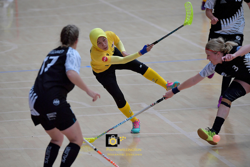 Malaysia's Fathih Hansi Binti Che Husain in action during the World Floorball Championships 2017 Qualification for Asia Oceania Region - New Zealand v Malaysia at ASB Sports Centre , Wellington, New Zealand on Saturday 4 February 2017.<br /> Photo by Masanori Udagawa<br /> www.photowellington.photoshelter.com.