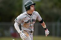 Dartmouth Big Green Trevor Johnson (36) runs to first base during a game against the Indiana State Sycamores on February 21, 2020 at North Charlotte Regional Park in Port Charlotte, Florida.  Indiana State defeated Dartmouth 1-0.  (Mike Janes/Four Seam Images)