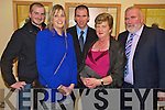 Eamon McGaley, Aoife, Mike, Margaret and Neilus McCarthy enjoying the Kerry senior team medal presentation in the Gleneagle on Friday night.