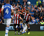 Cameron Carter-Vickers of Sheffield Utd wins the ball against Steven Fletcher of Sheffield Wednesday during the Championship match at the Hillsborough Stadium, Sheffield. Picture date 24th September 2017. Picture credit should read: Simon Bellis/Sportimage