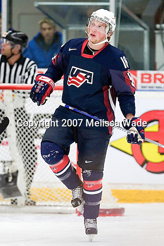 Justin Abdelkader (Muskegon, Michigan - Michigan State) is making his first appearance with the US National Junior Team. Team USA defeated Team Finland 6-3 in a 2007 World Juniors quarterfinal matchup on Tuesday, January 2, 2007 at FM Matsson Arena in Mora, Sweden.