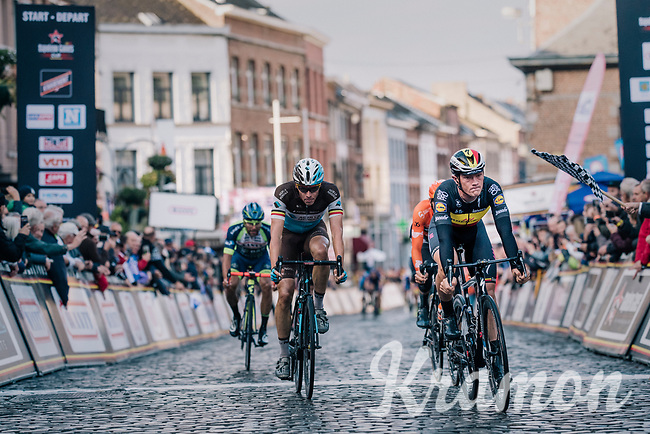 Belgian Champion Yves Lampaert (BEL/Quick Step Floors) finishes 2nd and Oliver Naesen (BEL/AG2R-La Mondiale) 3rd<br /> <br /> 2018 Binche - Chimay - Binche / Memorial Frank Vandenbroucke (1.1 Europe Tour)<br /> 1 Day Race: Binche to Binche (197km)