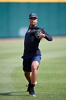 Trenton Thunder pitcher Dillon Tate (24) warms up in the outfield before a game against the Richmond Flying Squirrels on May 11, 2018 at The Diamond in Richmond, Virginia.  Richmond defeated Trenton 6-1.  (Mike Janes/Four Seam Images)