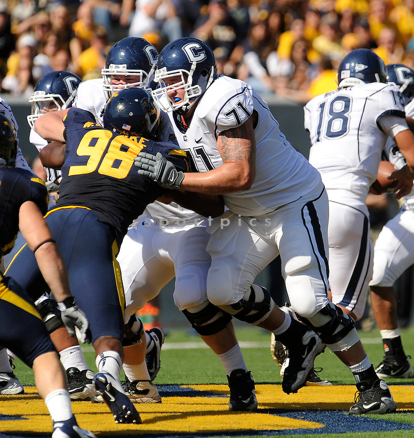 MIKE RYAN, of the Connecticut Huskies, in action during UConn's game against The West Virginia Mountaineers on October 8, 2011 at Milan Puskar Stadium in Morgantown, WV. West Virginia beat UConn 43-16.