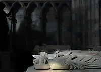 Royal tombs, with effigies of (left-right) Philippe V Le Long, 1294-1322, Jeanne d'Evreux, 1307-71, Charles IV the Fair, 1294-1328 and Blanche of France, 1328-93, in the Basilique Saint-Denis, Paris, France. The basilica is a large medieval 12th century Gothic abbey church and burial site of French kings from 10th - 18th centuries. Picture by Manuel Cohen