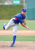 Kevin Rhoderick #34 of the Chicago Cubs pitches in an exhibition game against the Langley Blaze of the British Columbia Premier League at Fitch Park, the Cubs minor league complex, on March 21, 2011  in Mesa, Arizona. .Photo by:  Bill Mitchell/Four Seam Images.