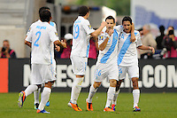 Marco Pappa (16) of Guatemala celebrates scoring during a CONCACAF Gold Cup group stage match at Red Bull Arena in Harrison, NJ, on June 13, 2011.