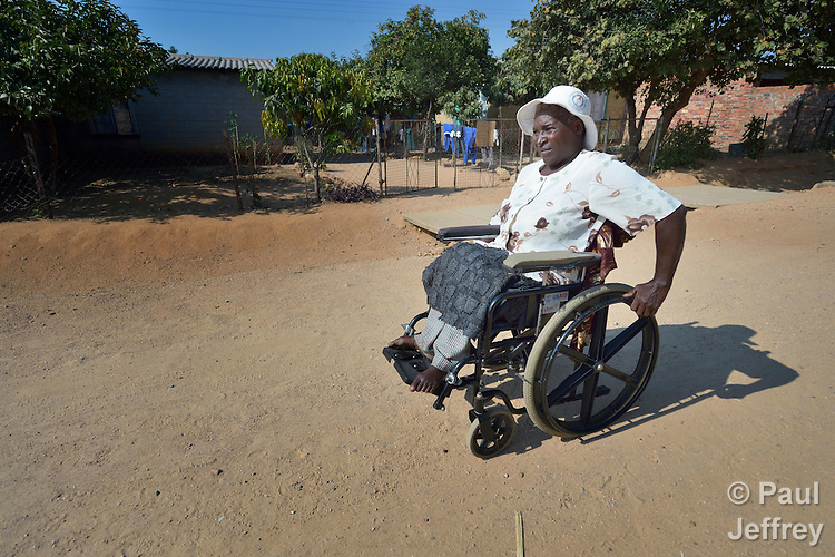 Edith Ncube had polio as a child and today uses a wheelchair in Bulawayo, Zimbabwe. Her wheelchair was provided by the Jairos Jiri Association with support from CBM-US.
