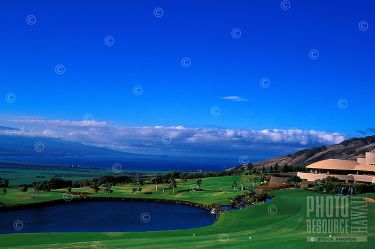 Hole number 18 designed by Ted Robinson of the Grand Waikapu golf course, Maui