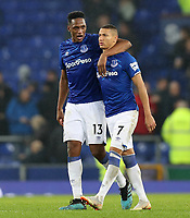 26th December 2019; Goodison Park, Liverpool, Merseyside, England; English Premier League Football, Everton versus Burnley; Yerry Mina of Everton puts his arm around  team mate Richarlison of Everton   - Strictly Editorial Use Only. No use with unauthorized audio, video, data, fixture lists, club/league logos or 'live' services. Online in-match use limited to 120 images, no video emulation. No use in betting, games or single club/league/player publications