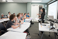 Jane Hong, assistant professor, history, teaches her class in Johnson Hall, Oct. 28, 2015. Hong specializes in 20th-century U.S. immigration and engagement with the world, with a focus on Asia.<br /> (Photo by Marc Campos, Occidental College Photographer)