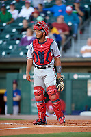 Syracuse Chiefs catcher Raudy Read (21) during a game against the Buffalo Bisons on July 6, 2018 at Coca-Cola Field in Buffalo, New York.  Buffalo defeated Syracuse 6-4.  (Mike Janes/Four Seam Images)