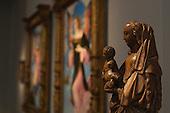 London, England. 15 October 2014. The Virgin and Child on a Crescent Moon, Sam Fogg Gallery. Fine art fair Frieze Masters 2014 in Regent's Park, London. Photo: Bettina Strenske