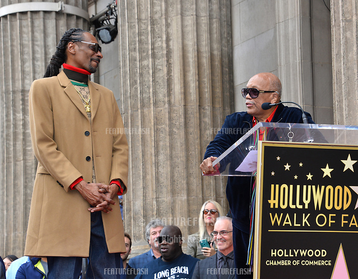 LOS ANGELES, CA. November 19, 2018: Snoop Dogg &amp; Quincy Jones at the Hollywood Walk of Fame Star Ceremony honoring Snoop Dogg.<br /> Pictures: Paul Smith/Featureflash