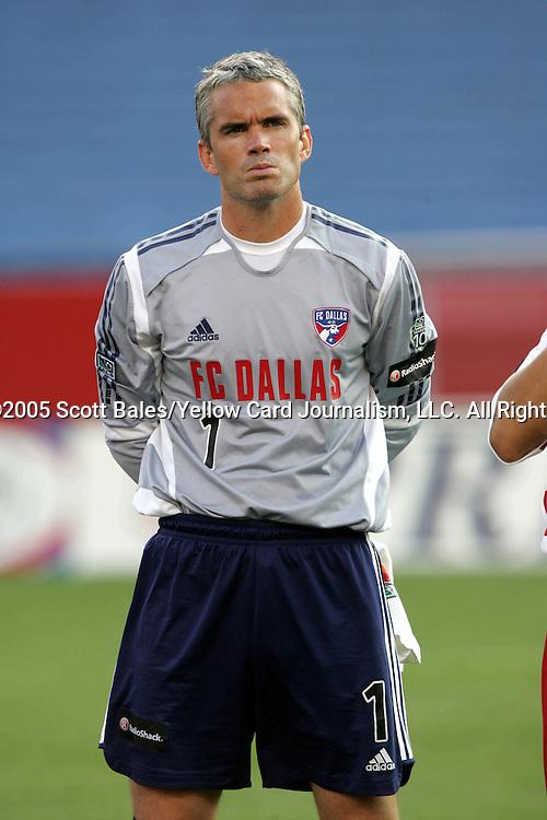 16 July 2005: FC Dallas goalkeeper Scott Garlick, pregame. The New England Revolution defeated FC Dallas 3-2 at Gillette Stadium in Foxboro, Massachusetts in a Major League Soccer regular season match.