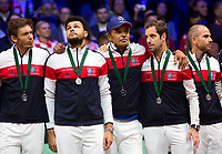 Le joueur de tennis français Lucas Pouille opposé au joueur Croate Marin Cilic lors de la  Finale de la Coupe Davis France vs Croatie, au Stade Pierre Mauroy à Villeneuve d'Ascq .<br /> France, Villeneuve d'Ascq , 25 novembre 2018.<br /> French tennis player Lucas Pouille vs Croatian tennis players Marin Cilic during the final of the Davis Cup, at the Pierre Mauroy stadium in Villeneuve d'Ascq .<br /> France, Villeneuve d'Ascq , 25 November 2018<br /> Pic :  Nicolas Mahut, Jo-Wilfried Tsonga, Yannick Noah