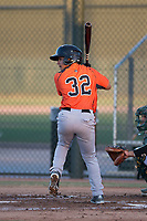 AZL Giants Orange shortstop Anyesber Sivira (32) at bat during an Arizona League game against the AZL Athletics at Lew Wolff Training Complex on June 25, 2018 in Mesa, Arizona. AZL Giants Orange defeated the AZL Athletics 7-5. (Zachary Lucy/Four Seam Images)