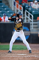Aberdeen IronBirds Joseph Ortiz (27) at bat during a NY-Penn League game against the Vermont Lake Monsters on August 18, 2019 at Leidos Field at Ripken Stadium in Aberdeen, Maryland.  Vermont defeated Aberdeen 6-5.  (Mike Janes/Four Seam Images)