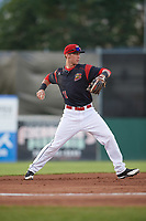 Batavia Muckdogs third baseman Tyler Curtis (11) warmup throw to first base during a game against the West Virginia Black Bears on June 26, 2017 at Dwyer Stadium in Batavia, New York.  Batavia defeated West Virginia 1-0 in ten innings.  (Mike Janes/Four Seam Images)