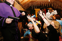 Fans of the cult Irish sitcom &quot;Father Ted&quot;, let their hair down in the pub in Kilfenora, Co. Clare, west of Ireland, Tuesday, February 26, 2008, during the annual Ted Festival. <br /> Father Ted was a popular 1990s television situation comedy set around the lives of three Irish Catholic priests on the remote (and fictional) Craggy Island off the west coast of Ireland.