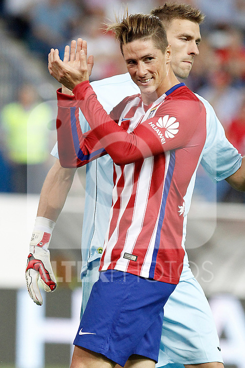 Atletico de Madrid's Fernando Torres (l) and Getafe's  Vicente Guaita during La Liga match.September 22,2015. (ALTERPHOTOS/Acero)