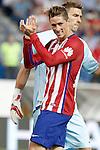 Atletico de Madrid's Fernando Torres (l) and Getafe's  Vicente Guaita during La Liga match.September 22,2015. (ALTERPHOTOS/Acero)