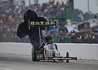 Apr. 26, 2013; Baytown, TX, USA: NHRA top fuel dragster driver Khalid Albalooshi during qualifying for the Spring Nationals at Royal Purple Raceway. Mandatory Credit: Mark J. Rebilas-