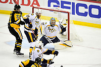 May 31, 2017: Nashville Predators goalie Pekka Rinne (35) reaches out to make a save during game two of the National Hockey League Stanley Cup Finals between the Nashville Predators  and the Pittsburgh Penguins, held at PPG Paints Arena, in Pittsburgh, PA. The Penguins defeat the Predators 4-1 and lead the series 2-0. Eric Canha/CSM