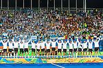 Argentina on the podium at Men's hockey medal ceremony at the Rio 2016 Olympics at the Olympic Hockey Centre in Rio de Janeiro, Brazil.