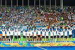 Argentina on the podium at Men's hockey medal ceremony at the Rio 2016 Olympics at the Olympic Hockey Centre in Rio de Janeiro, Brazil.