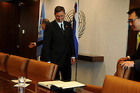NEW YORK, USA - SEPT 23. U.N secretary-General Ban Ki Moon receives Borut Phor president of Slovenia during a meeting celebrated as part of the 69th United Nations General Assembly on September 23.2014 photo by VIEWpress