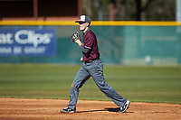 Concord Mountain Lions second baseman Nathan Neff (5) on defense against the Wingate Bulldogs at Ron Christopher Stadium on February 2, 2020 in Wingate, North Carolina. The Mountain Lions defeated the Bulldogs 12-11. (Brian Westerholt/Four Seam Images)