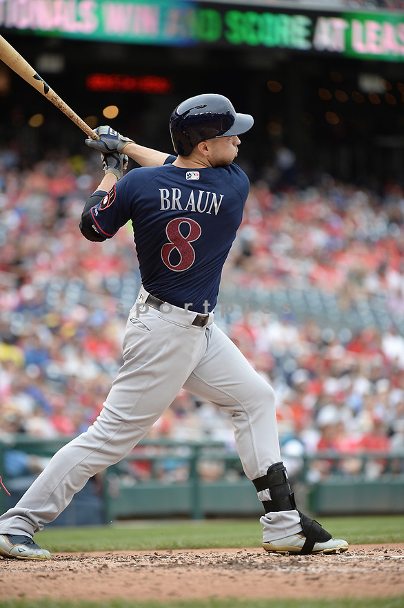 Milwaukee Brewers Ryan Braun (8) during a game against the Washington Nationals on July 4, 2016, at Nationals Park in Washington DC. The Brewers beat the Nationals 1-0.