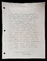 A letter written by fourth grade student Abigail Quintana to B. Dalton book store owners requesting them to not close the only book store in Laredo, Texas. With over 95 percent of the population as Hispanic Spanish speakers, Laredo ranked the lowest in literacy rates in the 2000 US census. Today there are a number of bi-lingual and dual language classes set up to help students and adults learn english...PHOTOS/ MATT NAGER