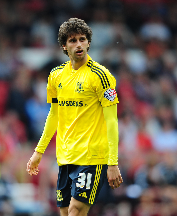 Middlesbrough's Diego Fabbrini<br /> <br /> Photographer Chris Vaughan/CameraSport<br /> <br /> Football - The Football League Sky Bet Championship - Nottingham Forest v Middlesbrough - Saturday 19th September 2015 - City Ground - Nottingham<br /> <br /> &copy; CameraSport - 43 Linden Ave. Countesthorpe. Leicester. England. LE8 5PG - Tel: +44 (0) 116 277 4147 - admin@camerasport.com - www.camerasport.com