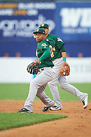 Lynchburg Hillcats second baseman Claudio Bautista (10) throws to first base as shortstop Yu-Cheng Chang (6) backs up the play during a game against the Wilmington Blue Rocks on June 3, 2016 at Judy Johnson Field at Daniel S. Frawley Stadium in Wilmington, Delaware.  Lynchburg defeated Wilmington 16-11 in ten innings.  (Mike Janes/Four Seam Images)