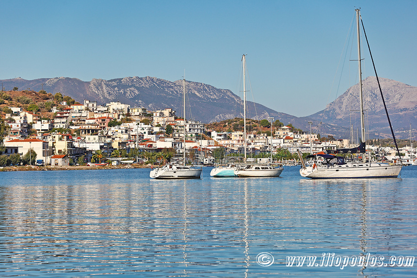 The beautiful Galatas across Poros island, Greece