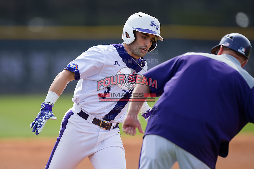 Tim Mansfield (3) of the High Point Panthers rounds third base after hitting a home run against the NJIT Highlanders game one of a double-header at Williard Stadium on February 18, 2017 in High Point, North Carolina.  The Panthers defeated the Highlanders 11-0.  (Brian Westerholt/Four Seam Images)