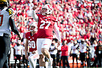 Wisconsin Badgers kicker Rafael Gaglianone (27) kicks a field goal during an NCAA Big Ten Conference football game against the Maryland Terrapins Saturday, October 21, 2017, in Madison, Wis. The Badgers won 38-13. (Photo by David Stluka)