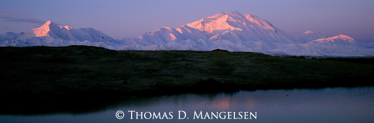 First light hits Mount McKinley and the Alaska Range in Denali National Park, Alaska.
