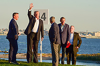 President Trump waves to the crowd as he arrives for the trophy presentation following round 4 Singles of the 2017 President's Cup, Liberty National Golf Club, Jersey City, New Jersey, USA. 10/1/2017. <br /> Picture: Golffile | Ken Murray<br /> <br /> All photo usage must carry mandatory copyright credit (&copy; Golffile | Ken Murray)