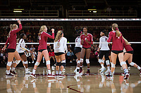 STANFORD, CA - September 9, 2018: Tami Alade, Kathryn Plummer, Kate Formico, Morgan Hentz, Meghan McClure at Maples Pavilion. The Stanford Cardinal defeated #1 ranked Minnesota 3-1 in the Big Ten / PAC-12 Challenge.